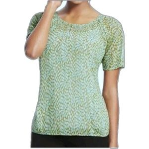 Cabi Green Pebble Print Blouse M